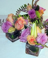 Lilies & Roses in Square Vases Reception Arrangements