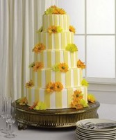 Wedding Reception Cake Golden Yellow Florals & Stripes