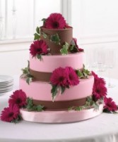 Wedding Reception Cake Magenta Gerberas