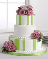 Wedding Reception Cake Lime Green with Mauve Roses
