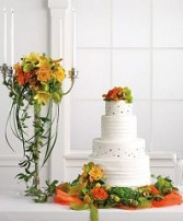 Wedding Reception Cake with Matching Floral Candelabra