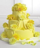 Wedding Reception Cake Radiant Yellow Roses