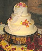 Wedding Cake Encircled with Roses & Petals