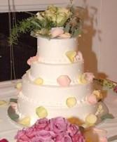 Wedding Cake with Pastel Roses & Seeded Eucalyptus