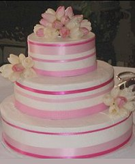 Wedding Cake with Pink & White Tulips