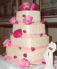 Wedding Cake with Pink Roses & Rose Buds