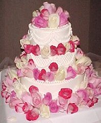 Wedding Cake with Pink & Ivory Roses