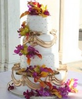 Wedding Cake with Colorful Tropical Flowers