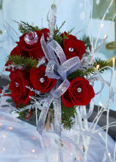 A Red Rose, Pine and Silver Glam Bouquet