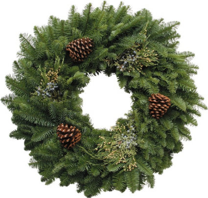W4 26 inch mixed Evergreen wreath Libbey