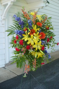 Walk in the Garden Standing Spray Shown at $150.00