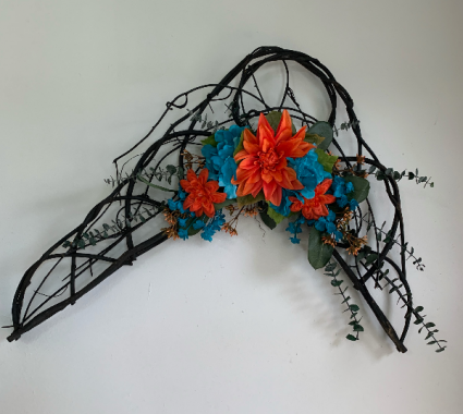 wall hanging in orange and teal Silk flower arrangement wall hanging