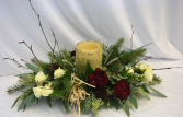 WARM AND COZY CENTER PIECE WINTER GREENS DESIGN