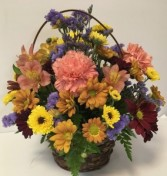 Warm Autumn Wishes Basket Arrangement