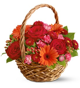 Basket Of Warmth In Reds, Orange And Fuschia Basket Arrangement in Tulsa, OK | THE WILD ORCHID FLORIST