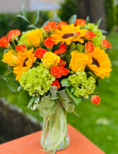 Warm Fall Day Vased Arrangement
