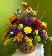 Warm Fall Greetings Basket Arrangement