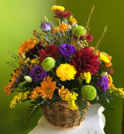 Warm Fall Greetings Basket Arrangement