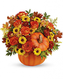 Warm Fall Wishes Country Pumpkin Arrangement