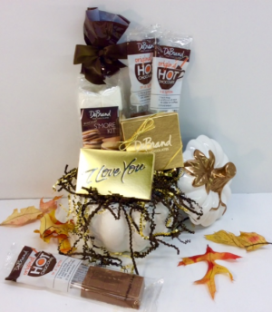 Warm My Heart DeBrand Chocolate Sampler  Premium Gourmet Chocolates In Pumpkin in Troy, MI | DELLA'S MAPLE LANE FLORIST