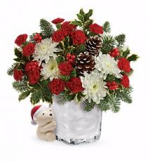 Send a Hug Bear Buddy Bouquet Christmas Arrangement