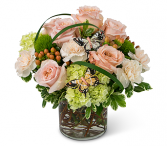 Warm Peach And Green Garden Flower Arrangement