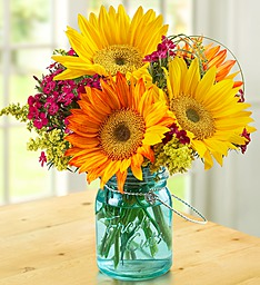 Warm Sunset Bouquet  Mixed flowers