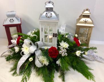 Warmest Holiday Wishes  Lantern centerpiece