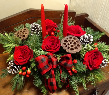 Warmhearted Holiday arrangement in container