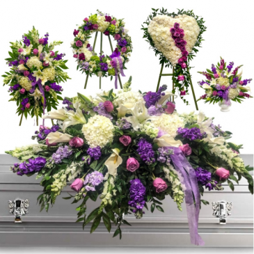 WAS $1500.00/LAVENDER 5 PC FUNERAL PACKAGE STANDING SPRAY, WREATH, SOLID HEART PEDESTAL, AND CASKET