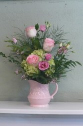 Water Pitcher  Hydrangea, Roses, Lisianthus in Ceramic Pitcher