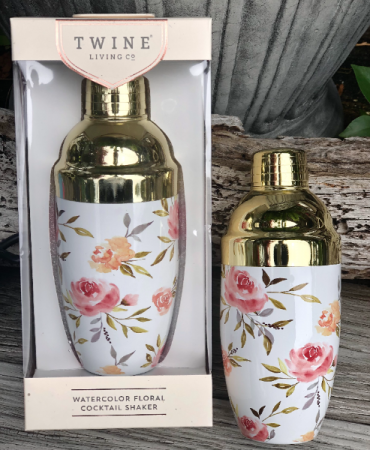 Watercolor Floral Cocktail Shaker by Twine Living 16 oz. Floral Cocktail Shaker