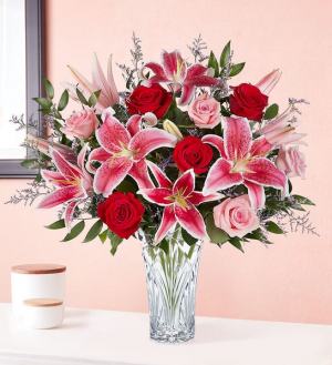 Waterford Crystal Blushing Rose & Lily Bouquet PFD21V400  Available in Small, Medium, Large in La Plata, MD | Potomac Floral Design Studio