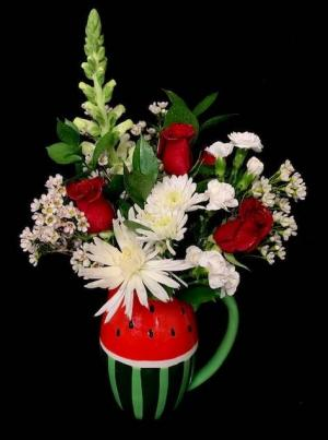 Watermelon Time Floral Red and White Design in Pitcher in Plainview, TX | Kan Del's Floral, Candles & Gifts