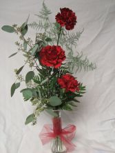 Three Carnations in a vase. Color may be substituted.