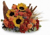 We Are Thankful Cornucopia Filled with Mixed Fall Flowers