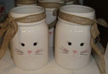 We can make a cute mixture of spring colors of flowers and burlap bow in this bunny mason jar. Just choose a price!