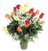 We love you!!  18 Long Stem mixed Roses