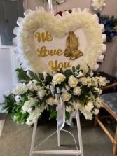 We Love You Silk Funeral Arrangement