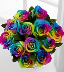 Limited Quanities! 1 dz. Rainbow Roses Arranged