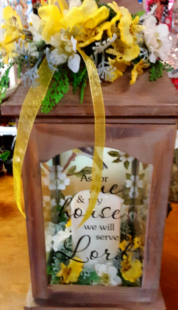 We will serve the Lord  Wood Lantern with inscription