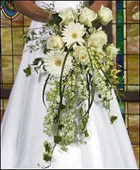WHITE CASCADING FLORALS Bridal Wedding Bouquet in Hobbs, NM | 1st Flowers & Gifts