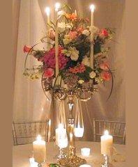 Romantic Candelabra Arrangement Wedding Reception Flowers in Dallas, TX | Paula's Everyday Petals & More