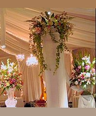 ROMANTIC COLUMN FLOWERS Wedding Reception Arrangements