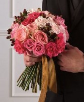 PINK ROSE & HYPERICUM Bridal Bouquet WS63-11