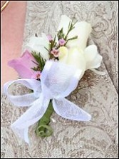 WHITE & LAVENDER ROSES Wedding Corsage
