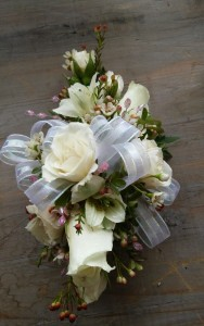 White Spray Roses, White Alstro Corsage Corsage