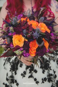 Wedding Bouquet Red & Orange  in Sherwood Park, AB | SHERWOOD PANDA FLOWERS