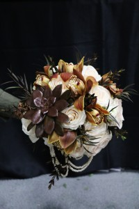 Wedding Bouquet White & Brown