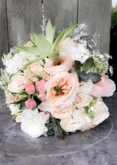 Wedding bouquet Garden roses, succulents and lisianthus